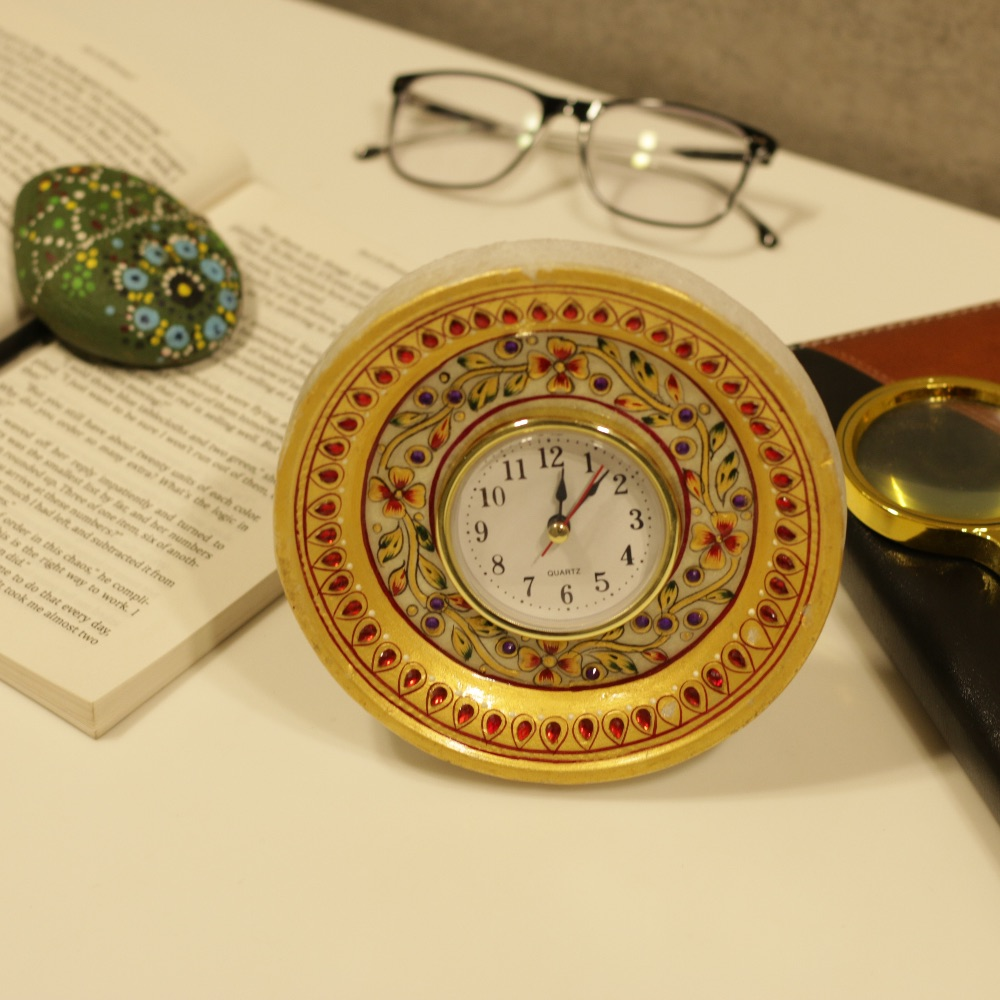 Marble Round Table Clock