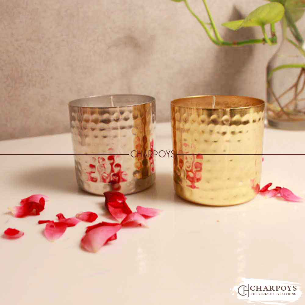 2 PC Iron Glass Candle Stand