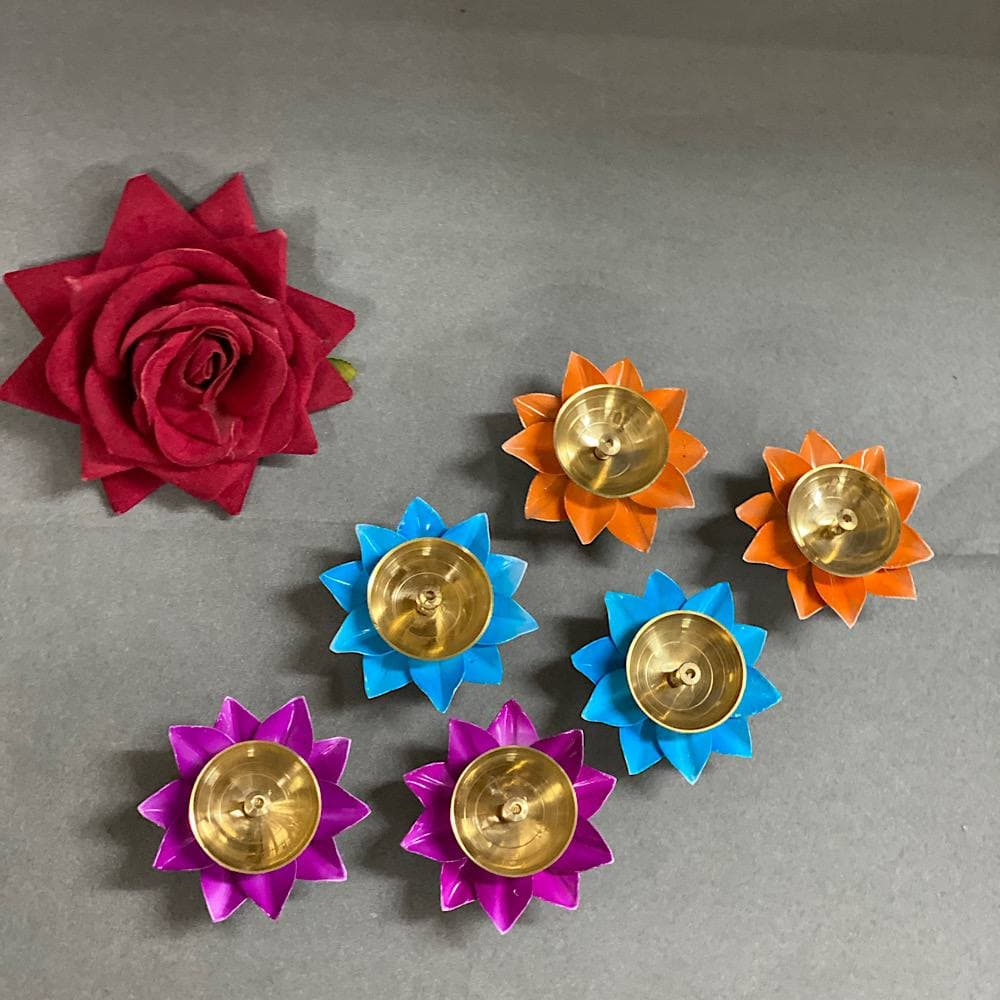 """3"""" Pack of 6 colorful Akhand Jyot"""