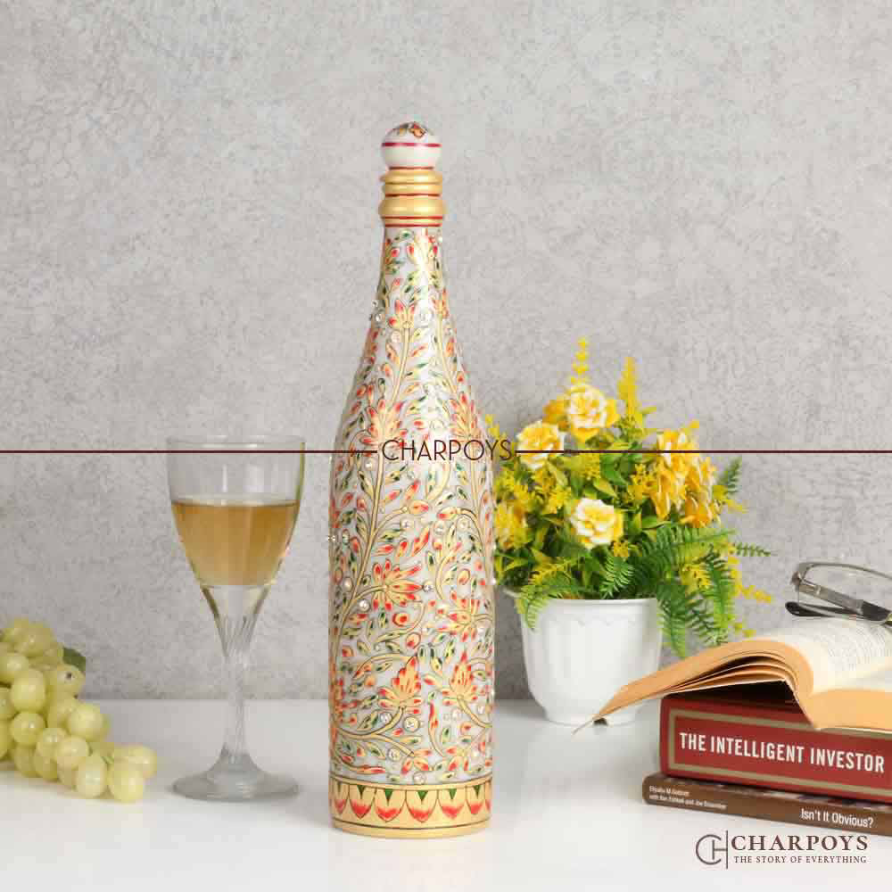 Marble Painted Wine Bottle