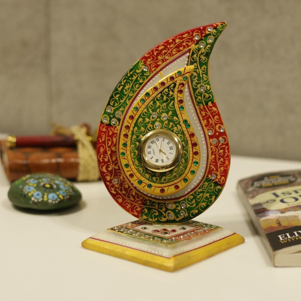 Marble Leaf Table Clock