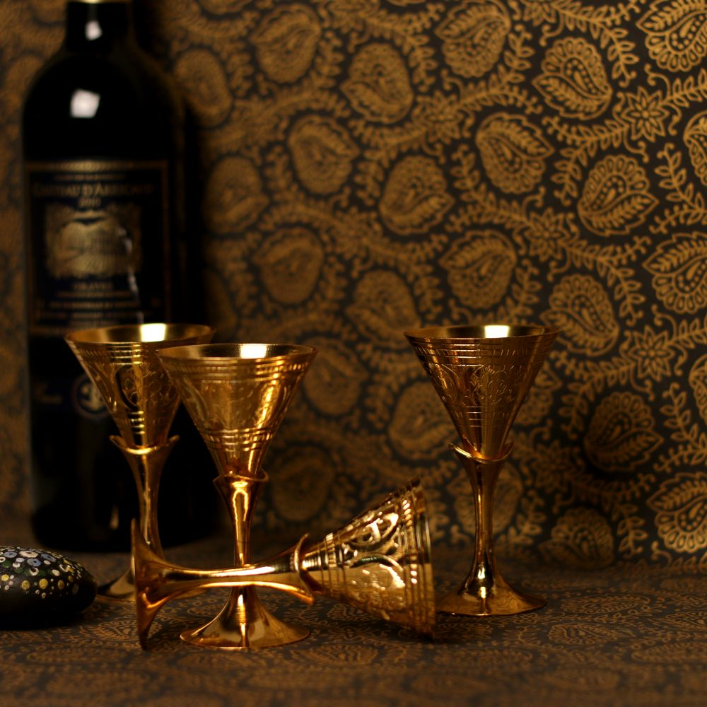 GOLDEN SMALL WINE GLASS S/4