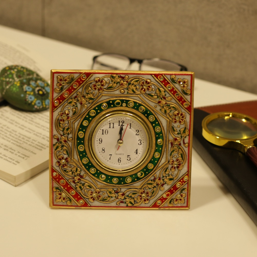 Marble Square Table Clock