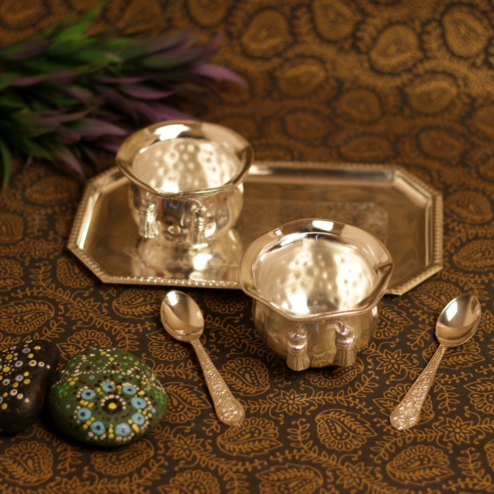 TIE DESIGN 2 BOWL SET WITH TRAY AND SPOON