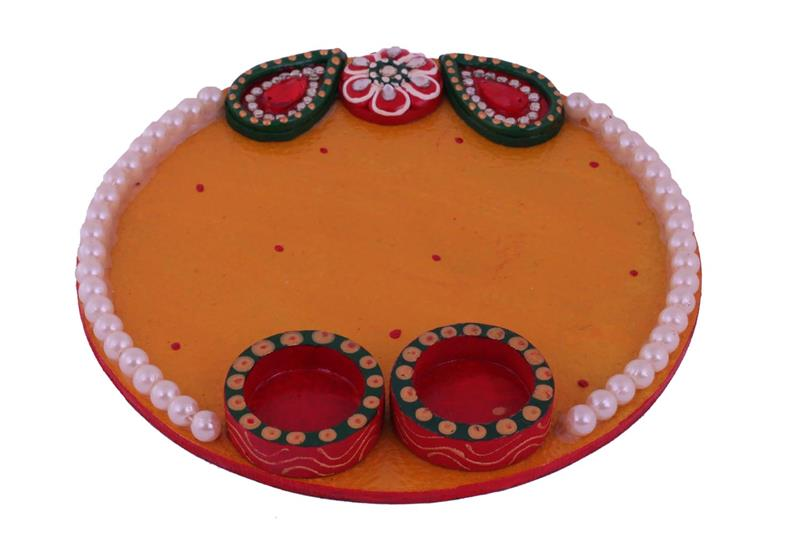 YELLOW Dual diya 1 layer stone pooja thaali