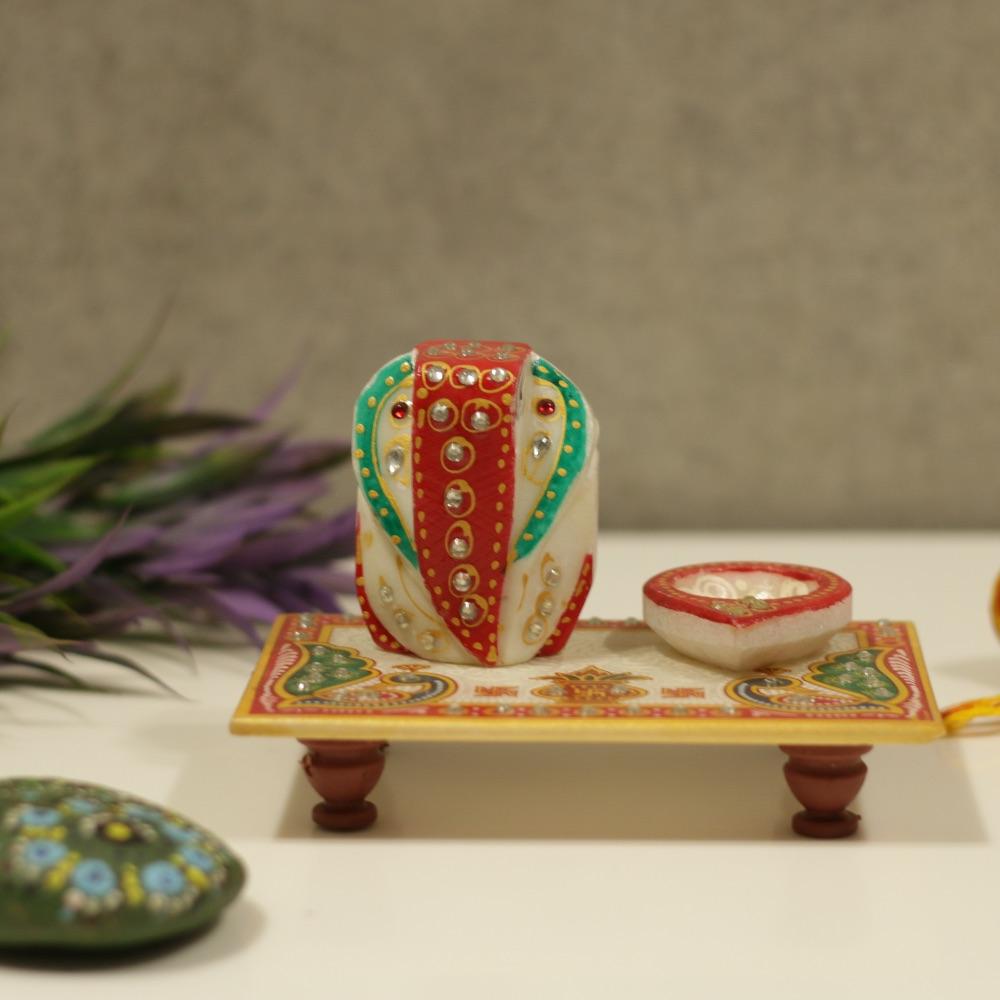Marble Chowki Ganesha with diya