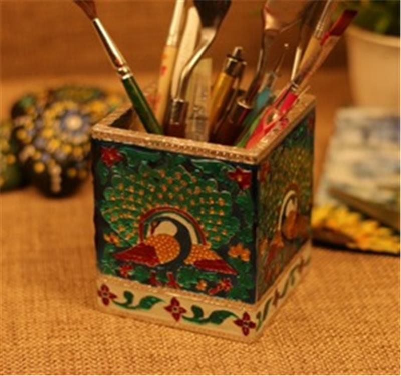 Wooden Blue Mina Square Pen Stand