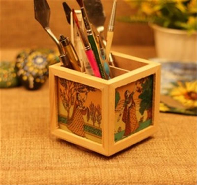 Wooden Gemstone Painted Revolving Pen Stand