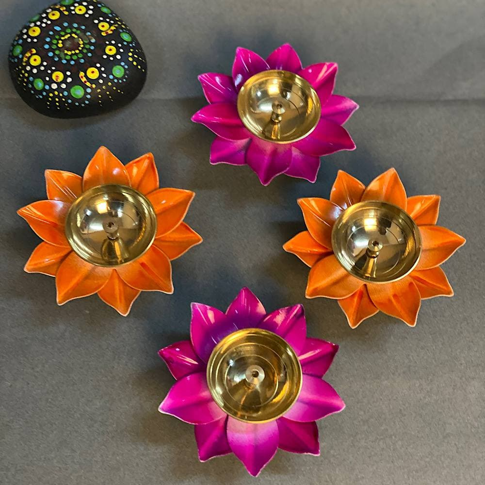 """4"""" Pack of 4 colorful Akhand Jyot"""