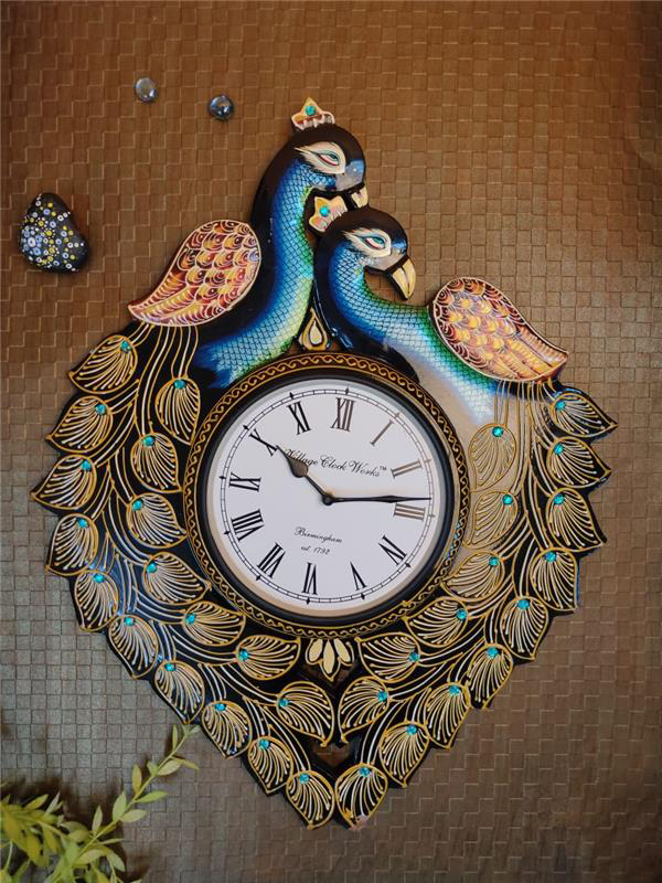 RED FEATHER DUAL PEACOCK WALL CLOCK
