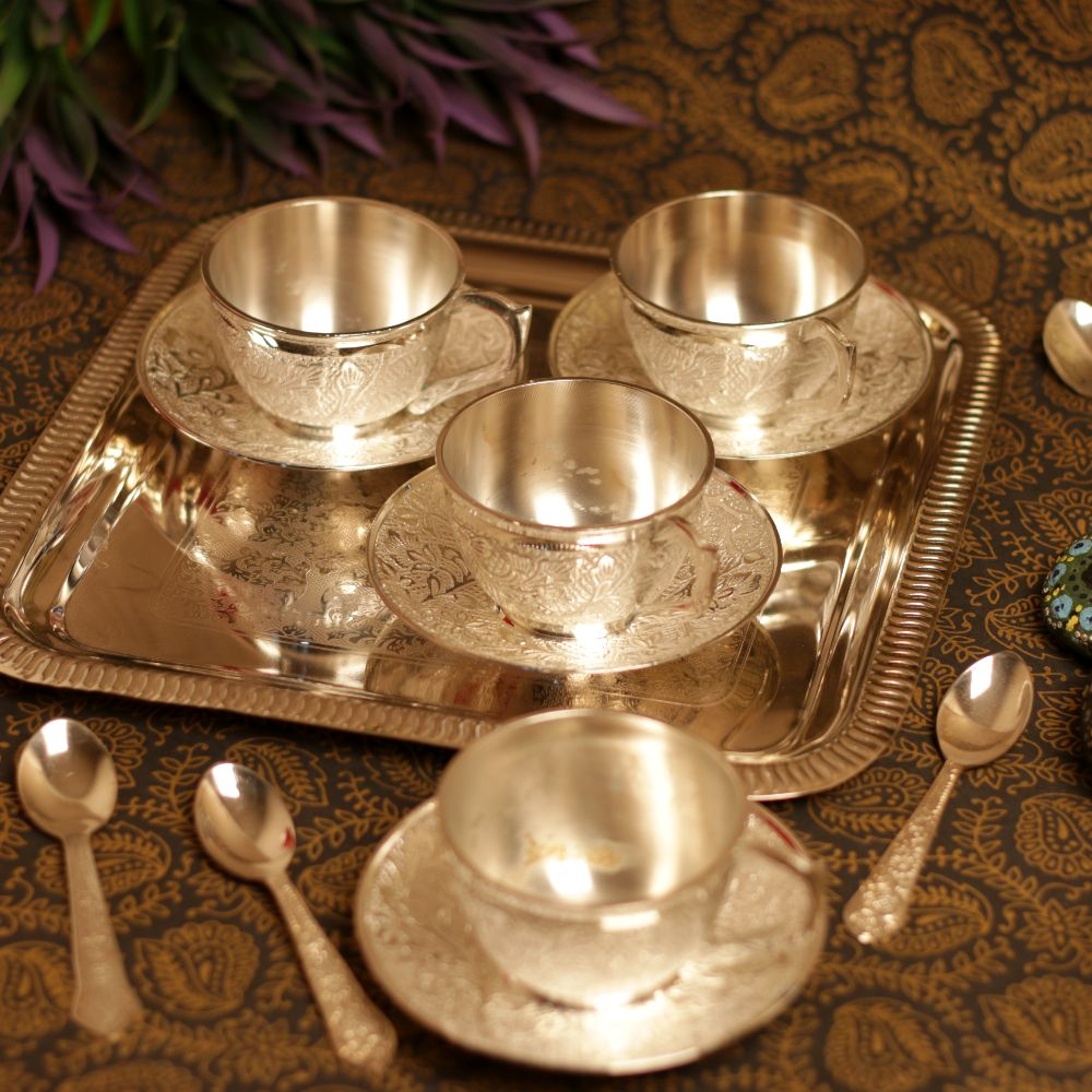SILVER 4 CUP & SAUCER SET WITH SPOON AND TRAY