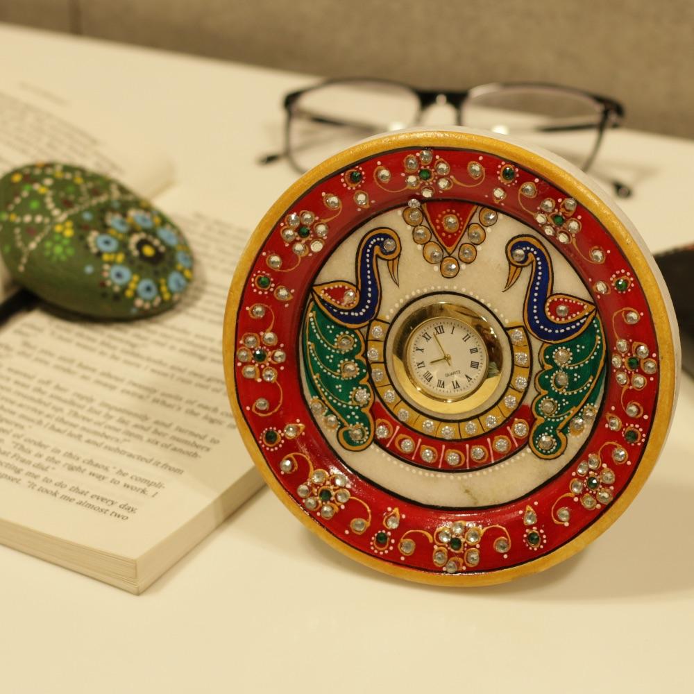 Marble Symmetric Peacock Table Clock
