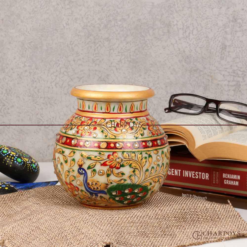 Marble Flower Pot Rajasthani Painted Design