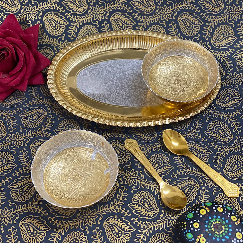 TWO TONE OVAL TRAY TWO BOWL SET BRASS