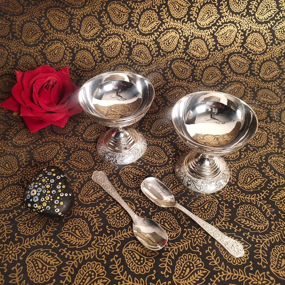 GERMAN SILVER TWO PIECE ICE CREAME CUP SET WITH SPOON