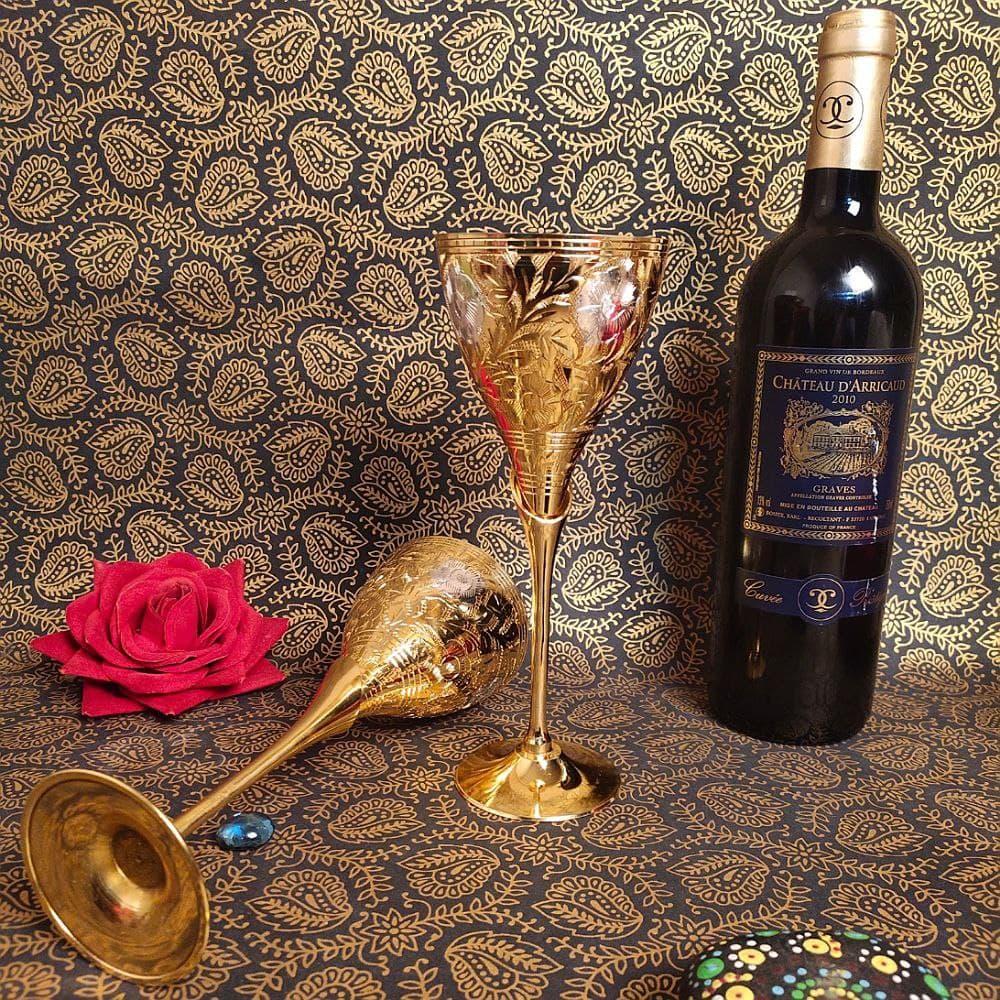 PAKHIJA GOLDEN Wine Glass 2 Pcs Set