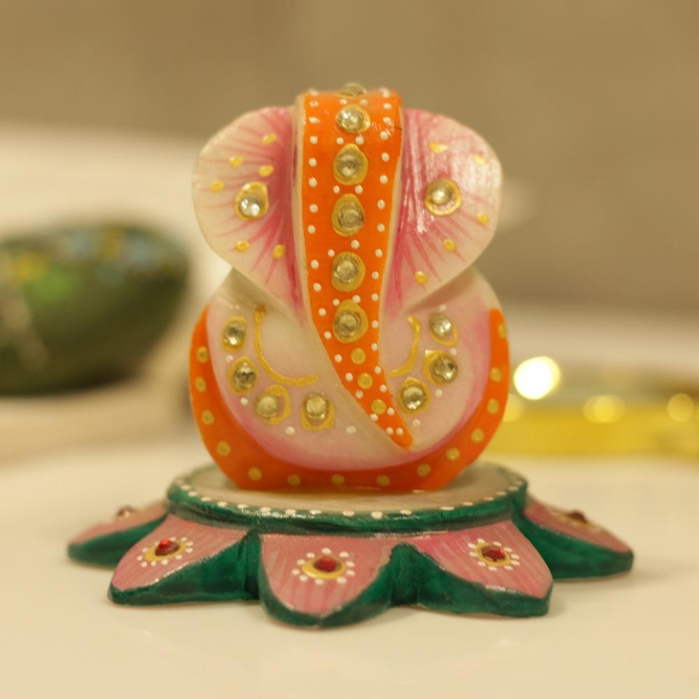 Marble Ganesh on Lotus