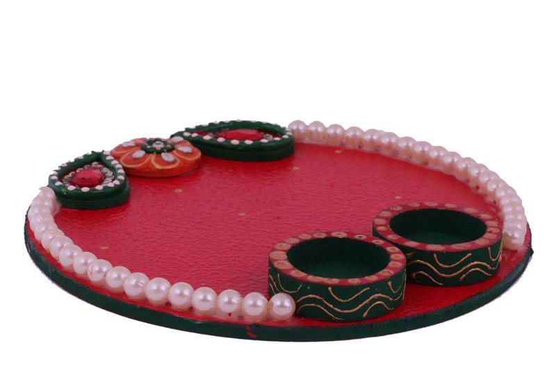 RED Dual diya 1 layer stone pooja thaali