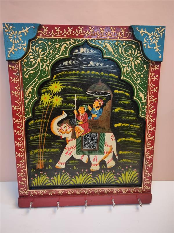 COLORFUL HANDPAINTED MEHRAB KING WITH ELEPHANT